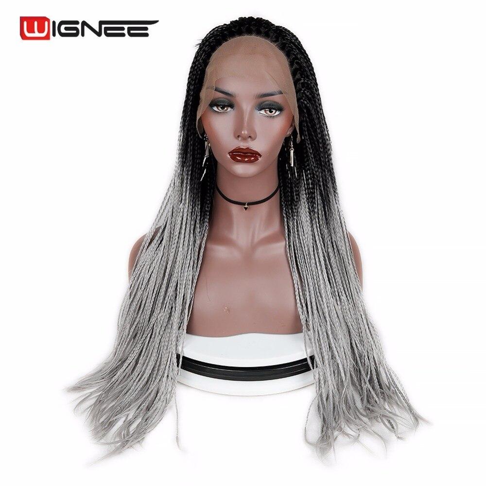 Wignee sénégalais 2x torsion tresses perruque dentelle avant synthétique perruque pour femmes Crochet torsion tressage cheveux naturel noir gris cheveux perruque