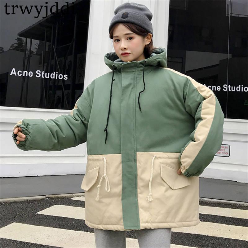 À Black 2018 Vestes Manteaux Patchwork Outwear caramel Nouvelles Baseball Manches Collège Veste green Femmes Longues Zipper Capuchon D'hiver N136 EaSqra