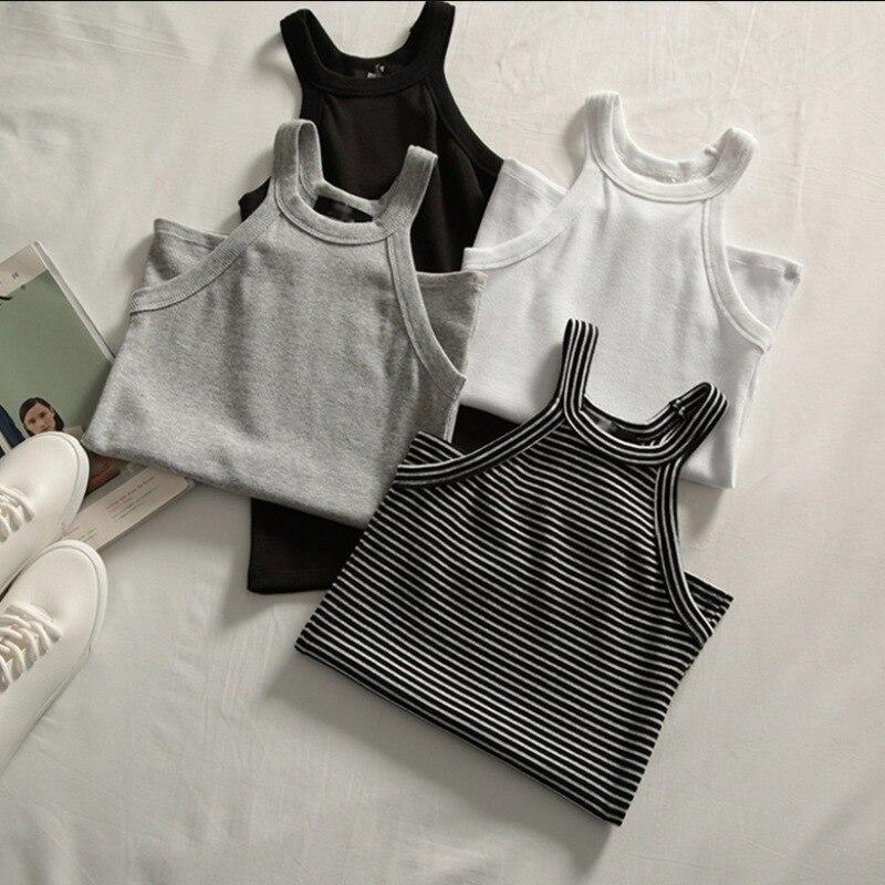 Basic Solid T shirts Women Slim Halter Neck Off-shoulder Camisole Tops Tees Summer Female Tanks Sleeveless