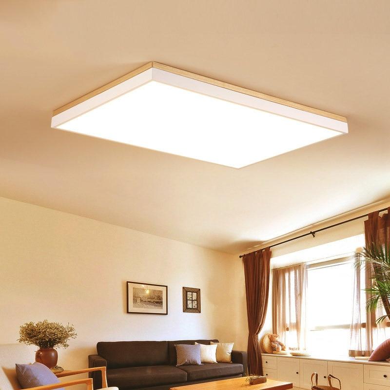 US $69.84 28% OFF|Super Slim Modern LED Ceiling Lamp Rectangular Round  Square Nordic Wood LED Ceiling Light Living Room Bedroom Ceiling Lamp-in ...