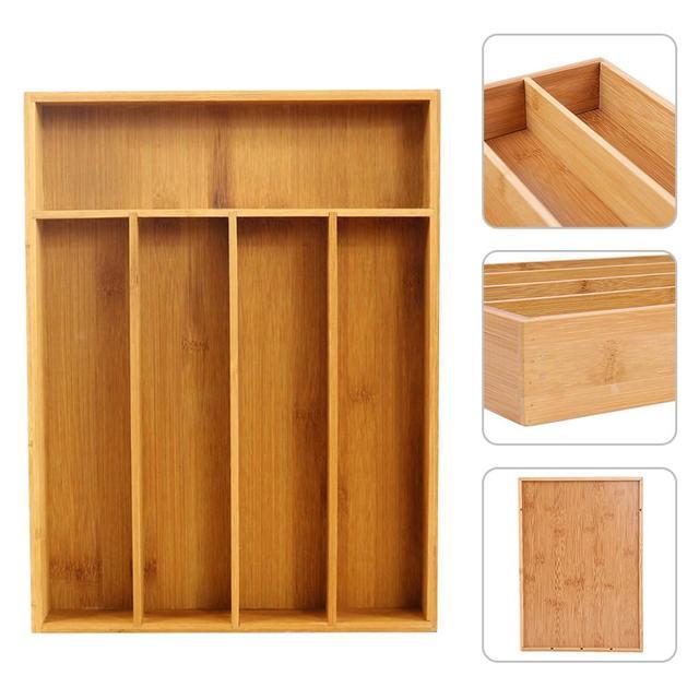5-Grid Peralatan Makan Kotak Penyimpanan Yang Dapat Diperluas Alat Pemotong Nampan Bambu Laci Organizer Home Dapur Bambu Praktis Bahan Makanan Organizer
