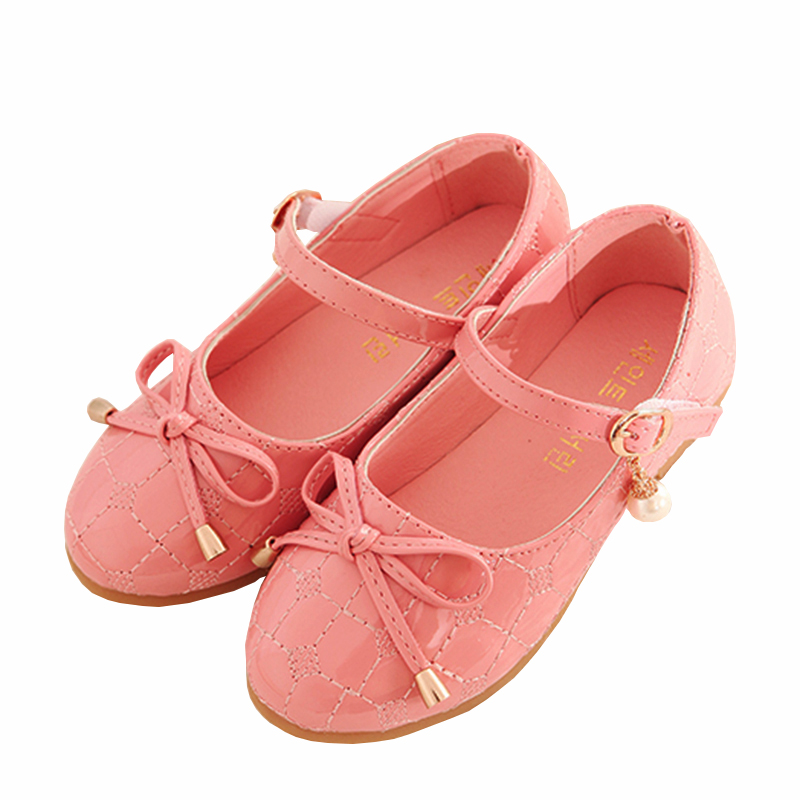 WENDYWU 2016 princess girls leather shoes pu flat bow-knot shoes solid shoes girl flat shoes black pearl flats red