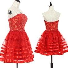 voil ドレスガールスウィートノースリーブ女性レッドストラップレスボールガウンドレスフォーマルパーティークラブドレス 2017 セクシーなファッション