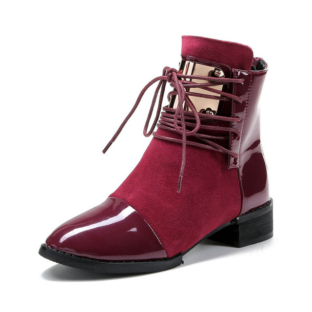 Hot Sale Women Genuine Leather Flat Ankle Boots Vintage Suede Fur Autumn & Spring Boots For Women Ladies Casual Motorcycle Boots