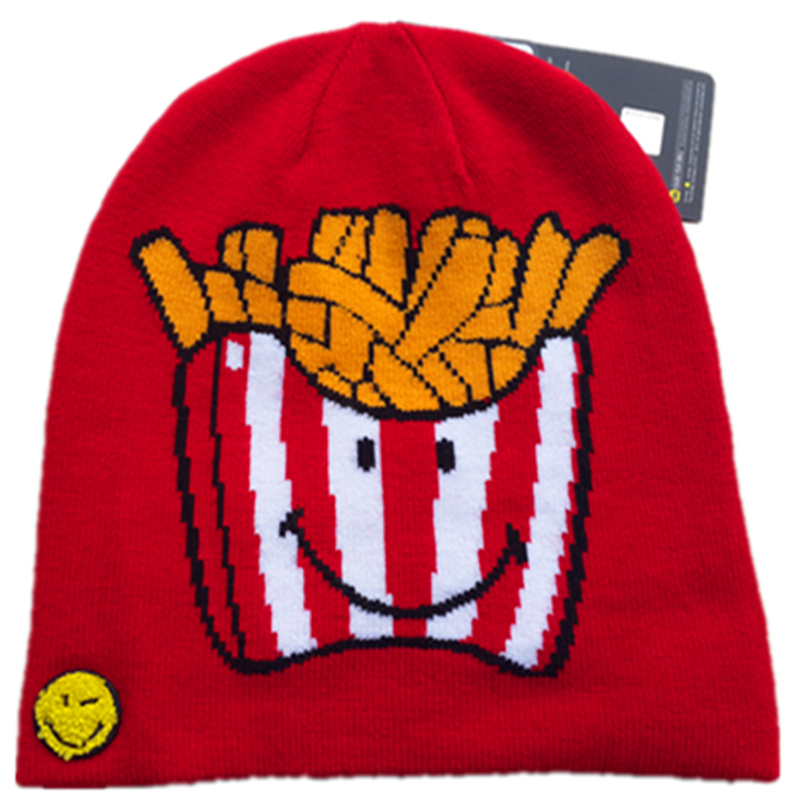 Funny Smiley World Food Men Women Knitted Reversible Hat French Fries Chips Popcorn Hamburger Hot Dog Sausage Autumn Winter Caps стакан luminarc smiley world 270 мл