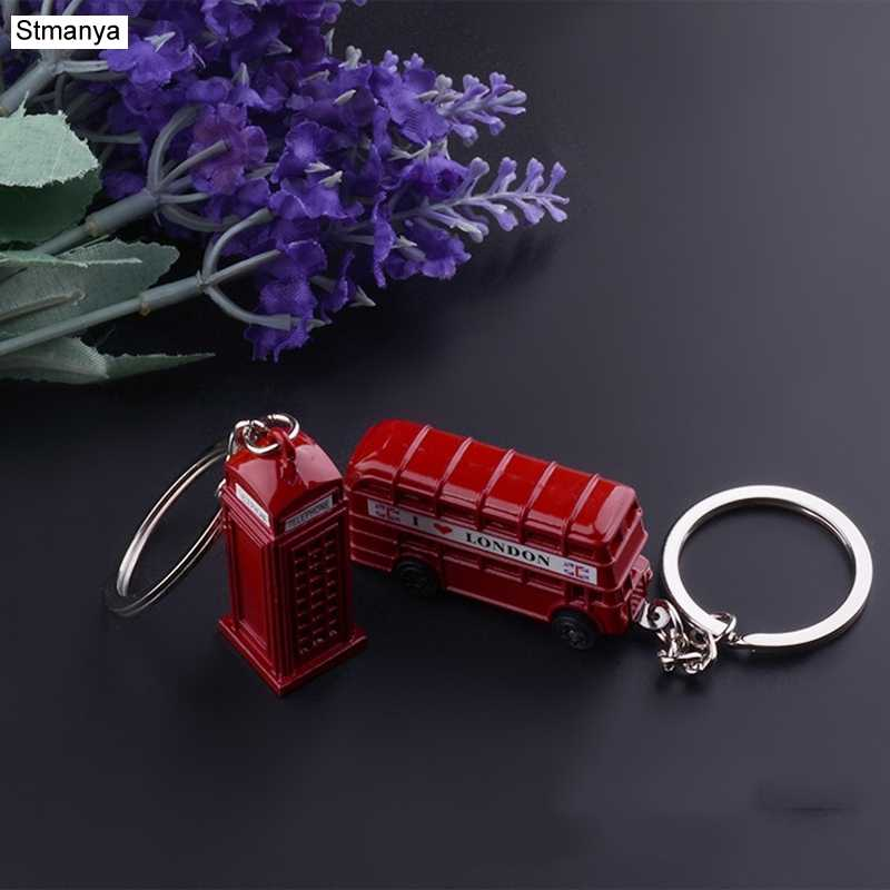 Fashion Metal Key Chain Double deck bus Pendants Car Key Holder phone booth Bag Charm Accessories creative Keychain Gift K1707