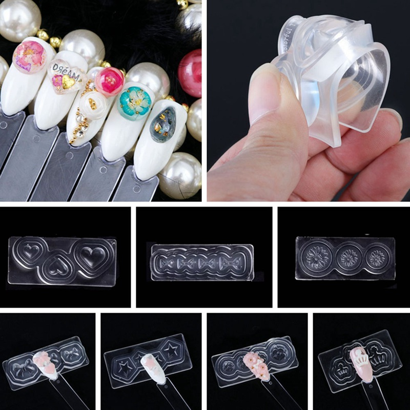 Mix Design Silicone Nail Art Templates Kit Cabochon 3D Nail Mold Set Manicure DIY Decoration Tool Stamper Set