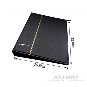High quality brand new large soft PU leather loose-leaf stamp album commemorative stamp collection book with 10 black pages