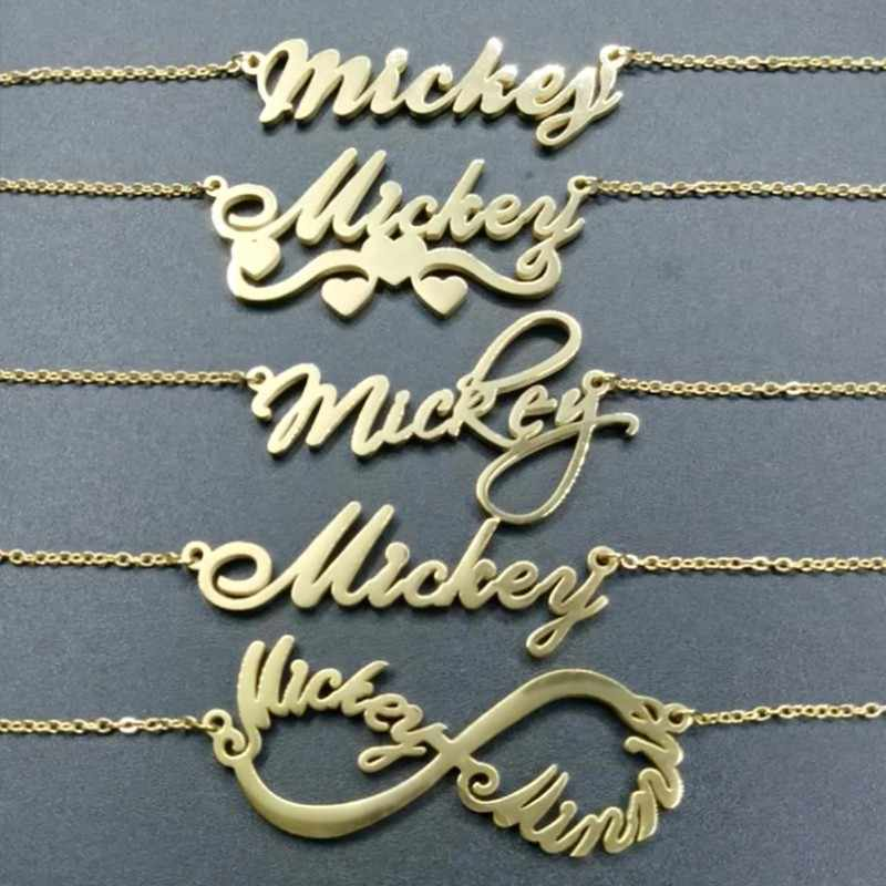 Customize Name Alphabet Necklaces For Women Stainless Steel Heart Chokers Personalized Anniversary Gift For Her