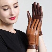 Guantes de piel auténtica para mujer, guantes elegantes de piel de oveja de dos tonos, cálidos y afelpados, para otoño e invierno, 2020