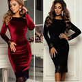 Long Sleeves Knee Length Velvet Tight Fitting robe de Cocktail Party Dress with Lace Edge vestido de festa curto