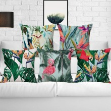 Tropical Plants Green Leaves Monstera Cushion Covers Hibiscus Flower Throw Pillow Case Home Decorative Beige Linen Pillowcases цена 2017
