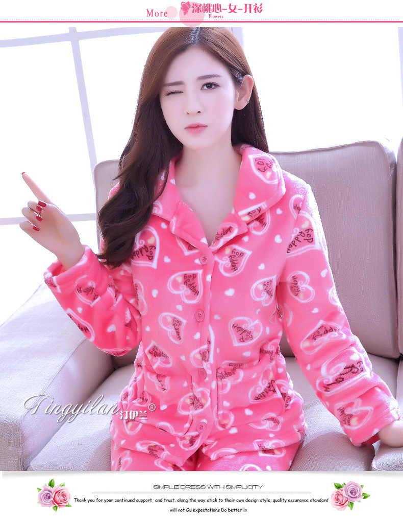 ... Women Flannel Pajamas Female Coral Fleece Pajama Sets Girls Warm Sleepwear  Velvet Long-sleeve Casual 7e770138e