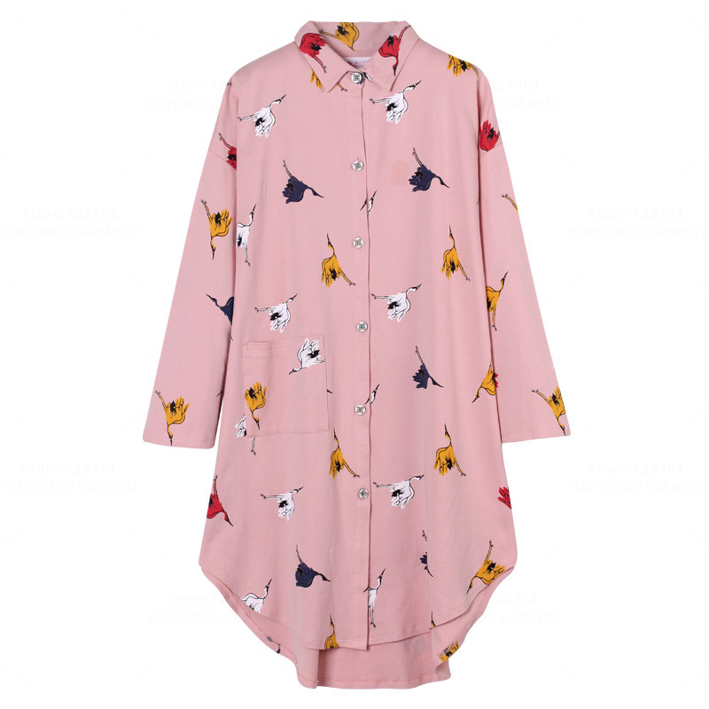 Brand New 100% Cotton   Nightgown   Women Nightdress Mujer Sleepwear Loose Big   Nightgowns   Pink   Sleepshirts   Dress Lounge Clothing