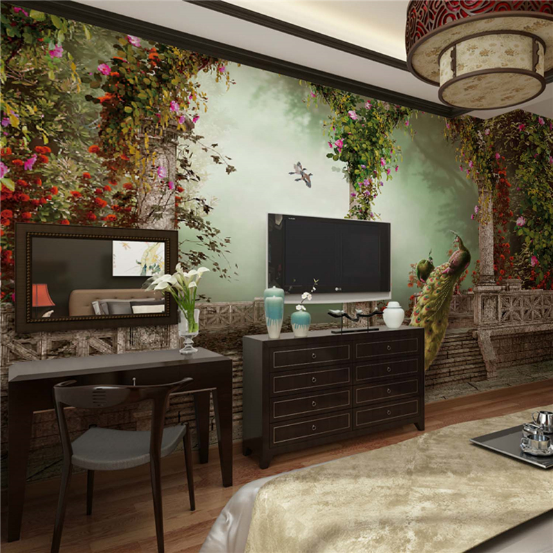 buy art deco wallpaper classical wall covering canvas large mural peacock. Black Bedroom Furniture Sets. Home Design Ideas