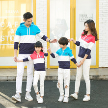 Soft parent-child spring clothing new casual family three cotton mosaic hooded couple sweater sweater color home clothes