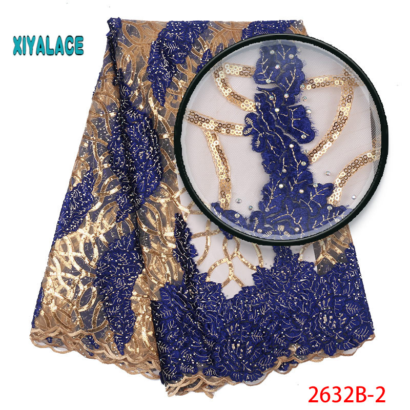 Luxury African Lace Fabric High Quality French Organza Lace Fabric 2019 New Arrival Sequins Lace Fabrics For Wedding YA2632B-2