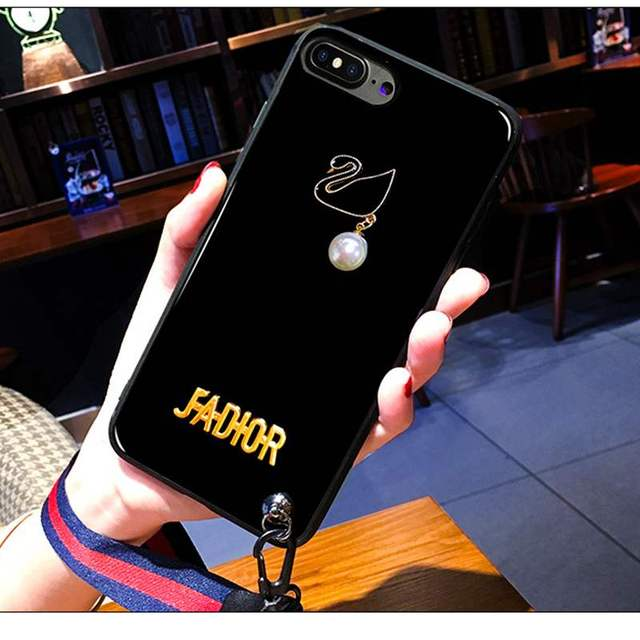 timeless design 34eac d5bdb US $3.98 30% OFF Luxury Pearl For iPhone 7 x 6 6s 8 Plus Case Bright  Glitter Black Swan Cover Fundas Capa for iphone 6 8 plus 7plus Case  Lanyards-in ...