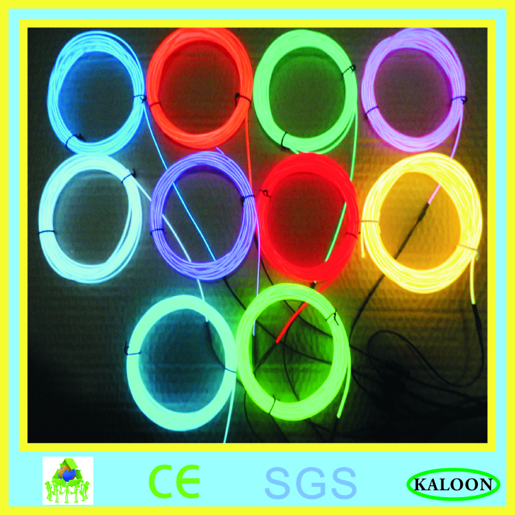2 3mm free shipping 100m EL wire glow wire cool flexible neon cable with AC inverter