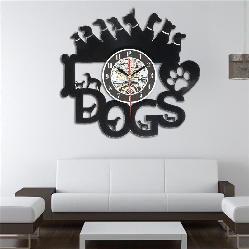 Charminer Acrylic Balck Dogs Art Vinyl Wall Clock Gift Room Modern Home Record Vintage Decoration Vinyl Record Wall Clock