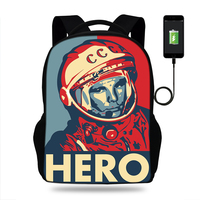2018 New School Bags Young Men CCCP USSR Gagarin Print Travel Bags Large Notebook Laptop Backpack USB Charging Teenagers Boys