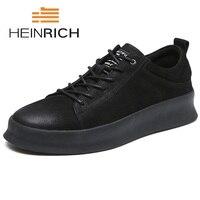 Генрих 2018 бренд Повседневная Мужская обувь из натуральной кожи модные мягкие Мужская обувь Молодежная удобная спортивная обувь Ayakkabi Erkek