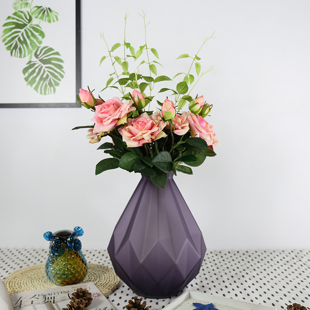 art decoration colored glass vase for decoration home decor tabletop vases for flowers en verre handicraft - Colored Glass Vases
