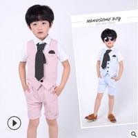 2018 Summer Baby Clothing Set Child Gentleman Wedding Dress Set Vest + Shirt Tie + Shorts Set of 3 Children 2 12 Free Shipping