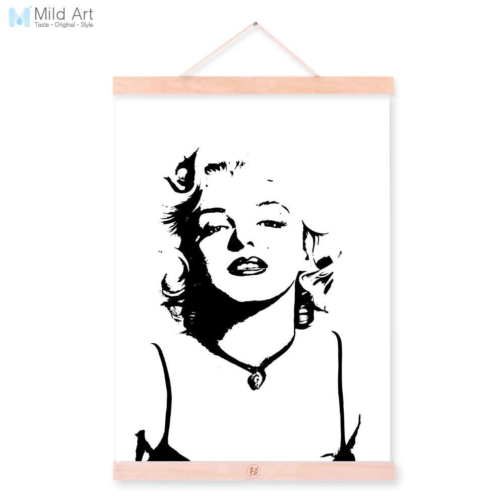 Black White Watercolor Marilyn Monroe Pop Movie Wooden Framed A4 ...