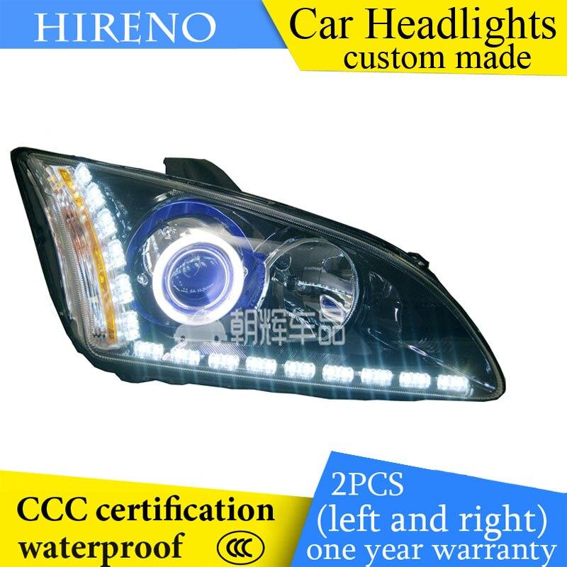 Hireno custom Modified Headlamp for Frod Focus 2005-08 Headlight Assembly Car styling Angel Lens Beam HID Xenon 2 pcs