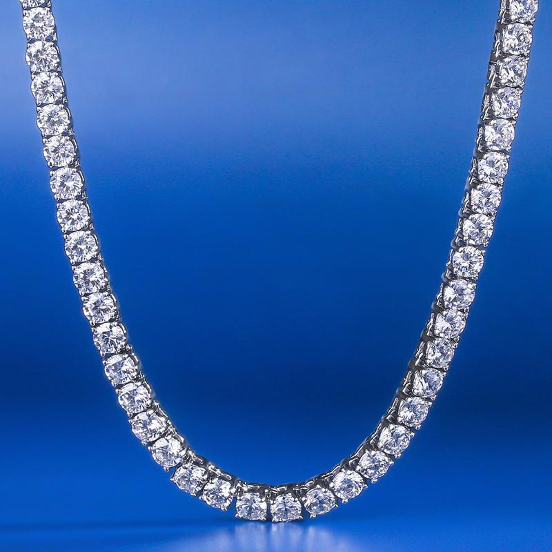 Collier chaîne de Tennis à une rangée de bijoux en or blanc de marque de luxe pour hommes et femmes 4mm Hippop street culture