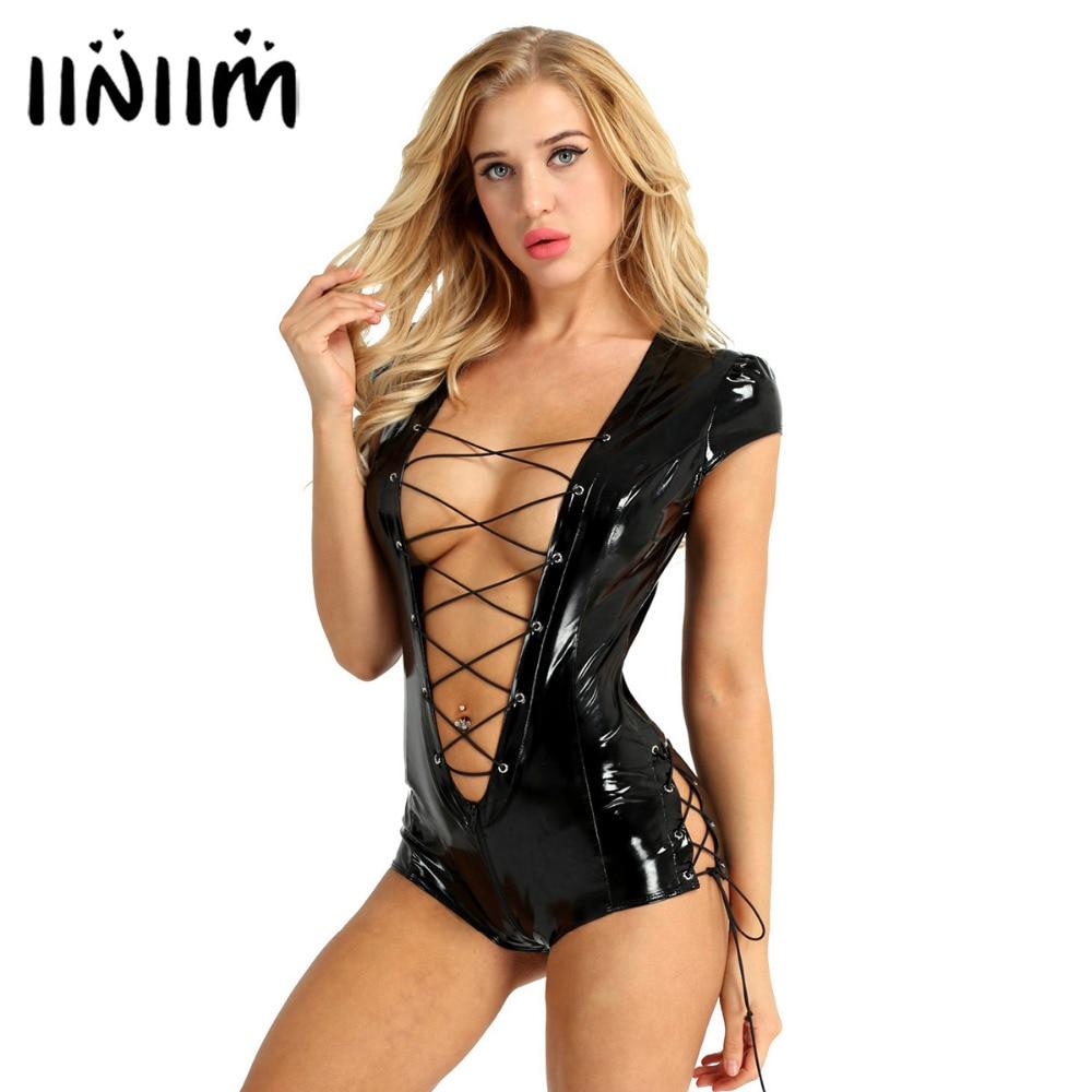 Womens Wetlook Bodysuit Patent Leather Sexy Clubwear for Ladies Catsuit Costumes Cap Sleeve Deep Zipper Crotch Leotard Jumpsuit