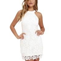 Sexy Women Elegant White Lace Embroidery Halter Neck Sleeveless Dress Slim Retro Lady Wedding Party Night