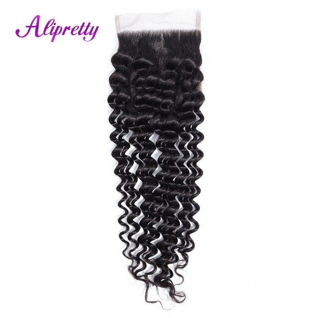 Alipretty del pelo brasileño de la onda profunda 4*4 Cierre encaje 8-22 pulgadas No Remy cabello humano libre/ medio/tres Cierre de encaje envío gratis