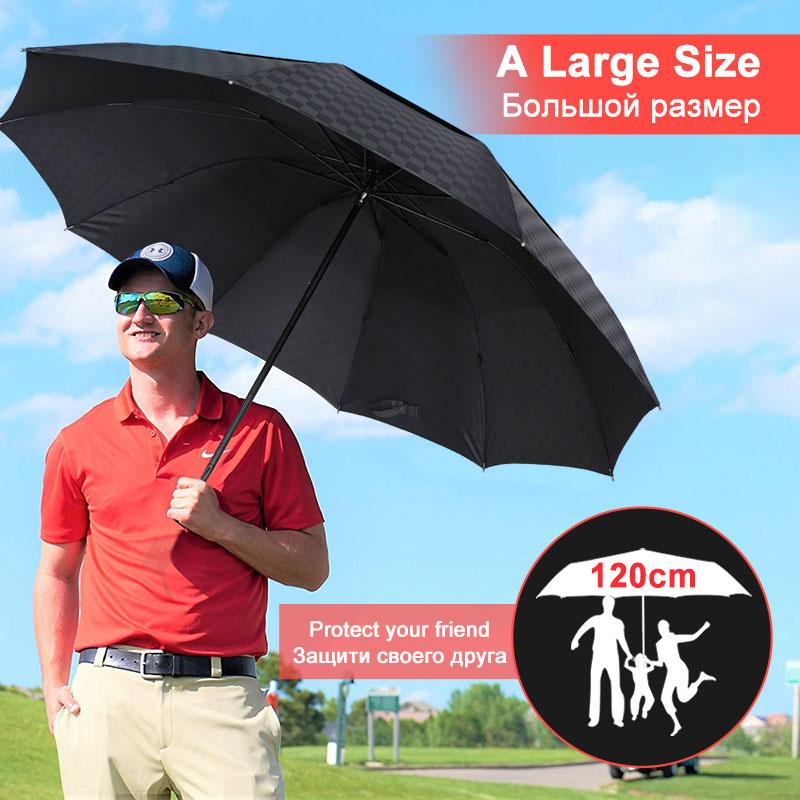 120cm Umbrella Rain Women Double Layer Big Quality 4Folding Business Umbrella Grid Windproof Men Large Family Travel Umbrella