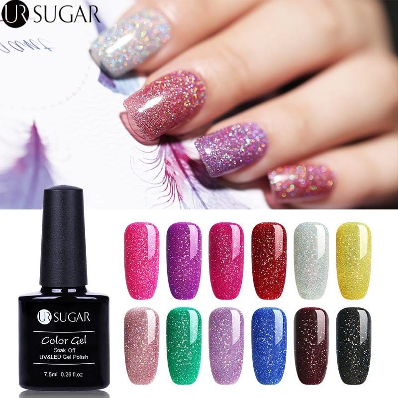 Hologram Gel Nail Polish: Aliexpress.com : Buy UR SUGAR Rainbow Holographic Gel Nail