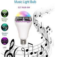 6W LED RGB Color Bulb Light E27 Bluetooth Control Smart Music Audio Speaker Lamp