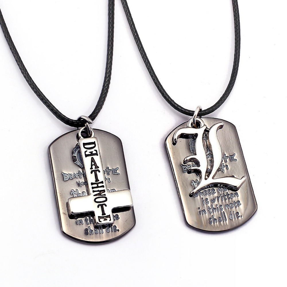 Death Note Necklace L Cross Dog Tag Pendant Fashion Rope Chain Necklaces Women Men Charm Gifts Anime Jewelry