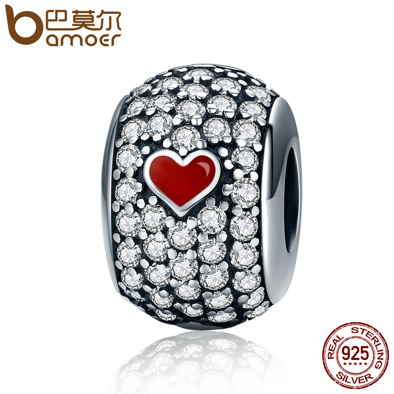 BAMOER New Collection Authentic 925 Sterling Silver Forever Love Poker Pave Beads fit Charm Bracelet Jewelry Making Gift SCC153 bamoer romantic new 925 sterling silver i love you forever engrave spacer beads fit charm bracelet & bangles diy jewelry scc595