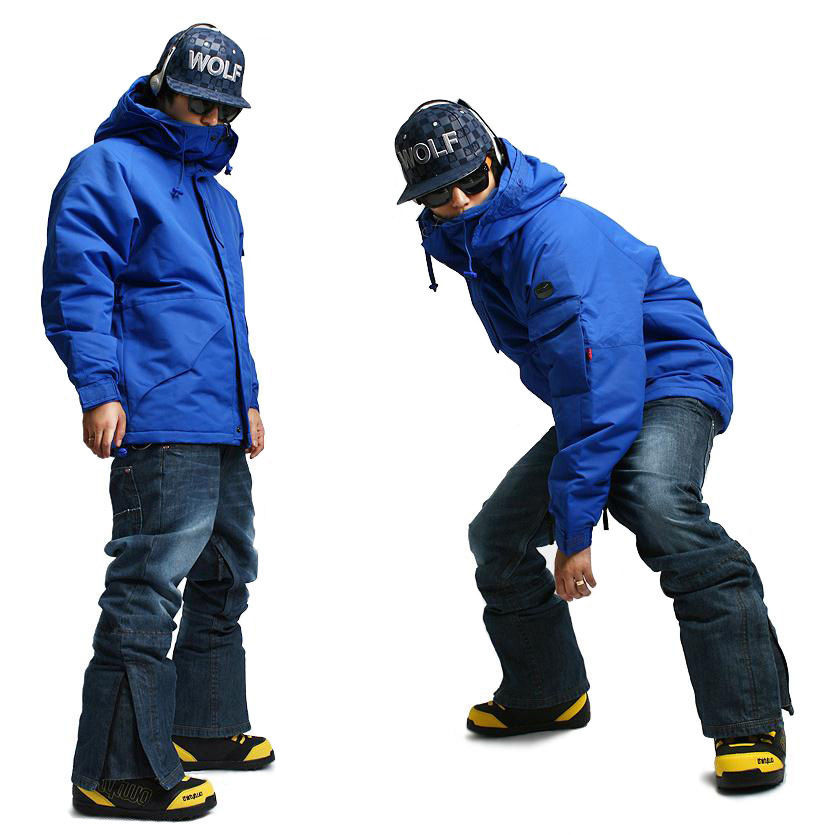 New Edition ''Southplay'' Winter Waterproof 10,000mm Warming  (Blue Military Jacket + Denim Pants)Sets