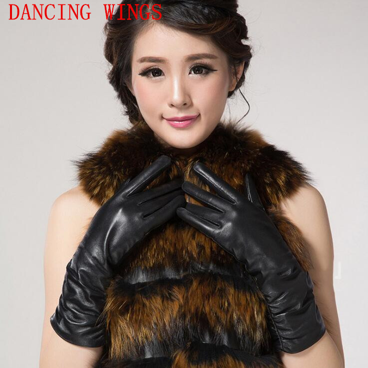 New Fashion Pleated Genuine Sheepskin Leather Gloves Women Ladies Thin Warm Cycling Gloves Guantes Invierno