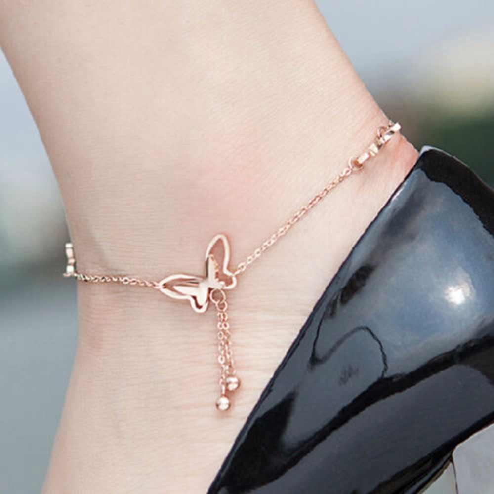 1 Pc 繊細な蝶ローズゴールド足チェーンジュエリーチタン鋼チェーンブレスレット女性ガール恋人ファッションアンクレット