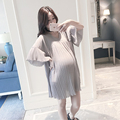 maternity dresses chiffon loose cute pregnant dress V-neck short sleeve pleated maternity clothes for pregnancy women