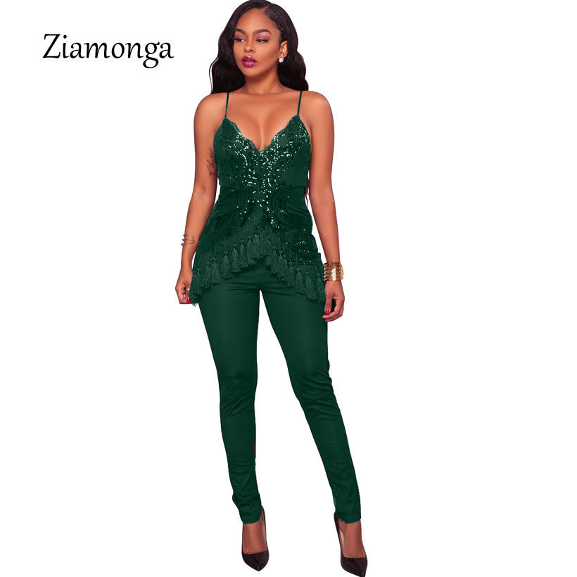 e5a95cf3ae2 Ziamonga 2018 Spring Tassel Sequin Jumpsuits Womens Rompers Sexy Elegant  Ladies Fitness Overalls Lace Sequined Combinaison