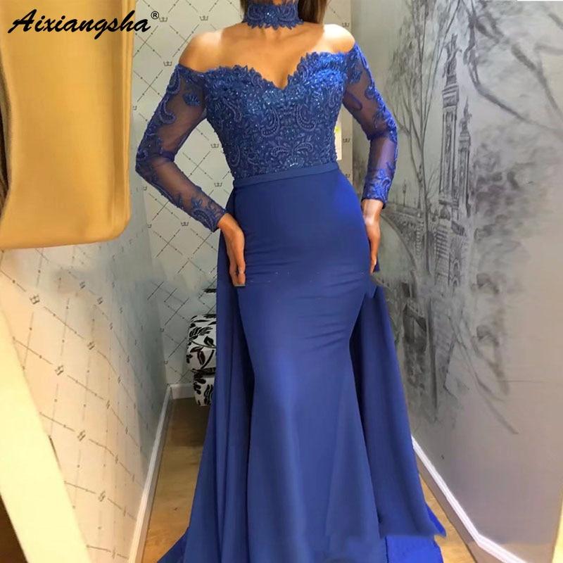 Royal Blue Chiffon Sweetheart Mermaid   Evening     Dresses   2019 Long Sleeves Lace Islamic Dubai Saudi Arabic Long Formal   Evening   Gown
