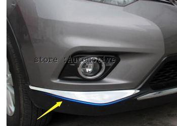 2 pcs/set ABS Chrome Depan Grille Grill Sampul Potong 2014 2015 2016 untuk Nissan X-trail X Trail T32 Rogue Mobil Styling aksesoris