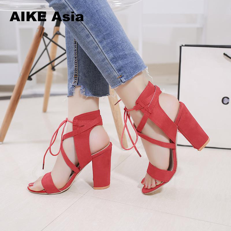 2019 Sexy Women Heeled Sandals Bandage Ankle Strap Pumps Super High Heels 10.5 CM Square Heels Lady Shoes #85182019 Sexy Women Heeled Sandals Bandage Ankle Strap Pumps Super High Heels 10.5 CM Square Heels Lady Shoes #8518