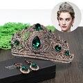Vintage18K Antique Gold Plated Green Rhinestones Royal King Crown Veil Crowns For Wedding Showy Prom Big Tiara