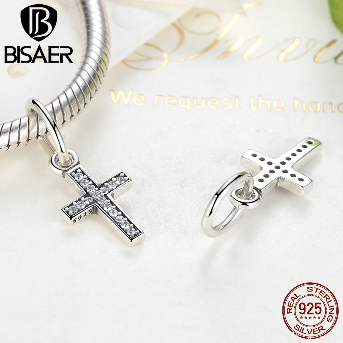Bisaer real 925 sterling silver symbol of faith cross clear cz bisaer real 925 sterling silver symbol of faith cross clear cz beads charms fit original vrc bracelet fashion jewelry htc009 in charms from jewelry biocorpaavc Images