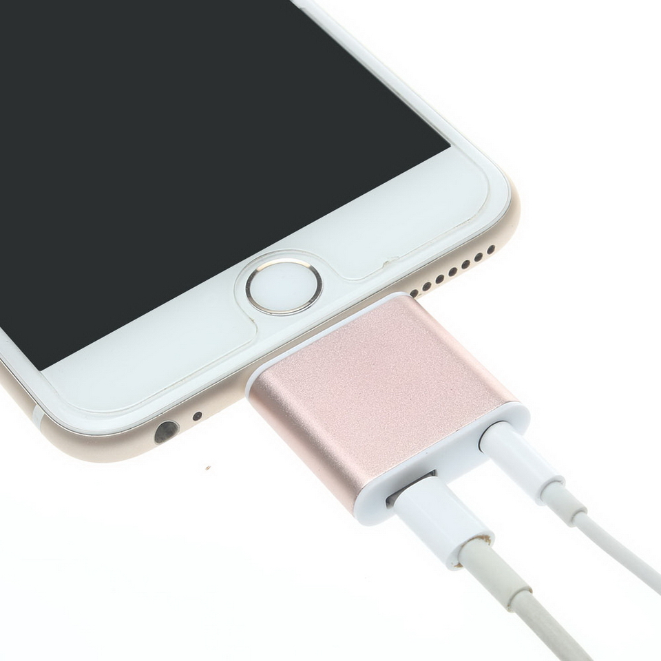 iphone jack adapter. aliexpress.com : buy metal 2 in 1 8 pin lightning to 3.5mm headphone jack audio+phone charger adapter connector splitter for apple iphone 7 plus from iphone